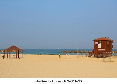 ASHKELON, ISRAEL - SEPTEMBER 10, 2017: View on public beach on Mediterranean Sea in the morning in Ashkelon, Israel
