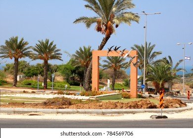 ASHKELON, ISRAEL - SEPTEMBER19, 2017: Circular crossroads decorated with swallows in the city of Ashkelon