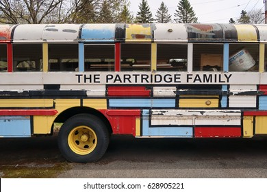 ASHLAND, NEW YORK - APRIL 24, 2017: Mid section of The Partridge Family Bus replica parked off of NY-23. Editorial use only.