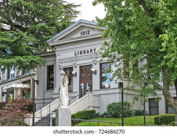 Ashland, Oregon USA - July 23, 2014: Carnegie Library building 1912, restored 2003, now serves as the Children's Library, located at 410 Siskiyou Blvd. Designed by architect George A. Ferris.