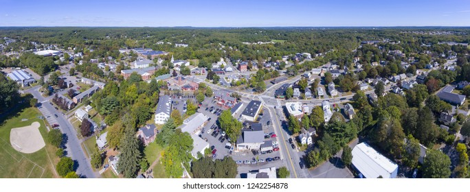 Ashland town center aerial view panorama including Federated Church and Town Hall in Ashland, Massachusetts, USA.