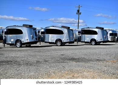 ASHLAND, VA, USA - NOVEMBER 15, 2018: Airstream trailers parked at the Airstream of Virginia dealership.