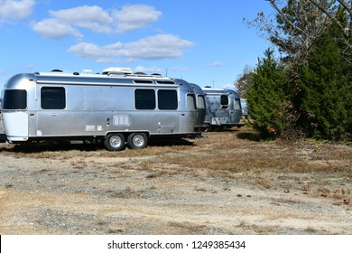 ASHLAND, VA, USA - NOVEMBER 15, 2018: Airstream trailers parked at the Airstream of Virginia dealership.