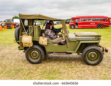 Ashley Hall, Ashley, Cheshire, UK. May 28th 2017. Vintage miltary vechicle on display in the arena at Ashley Hall, Traction Rally, Cheshire, UK