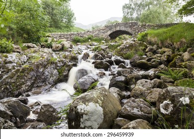 Ashness Bridge in Borrowdale. English Lake District. England. UK. In rainy evening light.