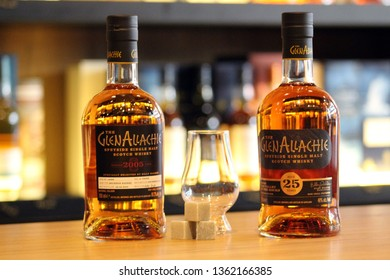 Ashrafieh, Beirut / Lebanon - March 2019: Two bottles of Glenallachie with Glencairn whisky glass and whisky stones in a boutique shop