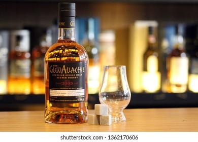 Ashrafieh, Beirut / Lebanon - March 2019: Glenallachie Brand Bottle With Whisky Stones and Glencairn Whisky Glass