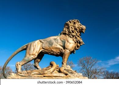 Ashton Under Lyne. Lancashire, England, UK - March 14, 2016: Bronze War Memorial Lion