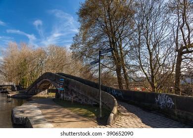 Ashton Under Lyne. Lancashire, England, UK - March 14, 2016: Portland Basin Canal Bridge
