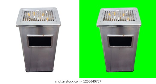 ashtray bin isolate on white and green background