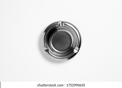Ashtray for cigarette, stainless ashtray isolated on white background. High resolution photo.