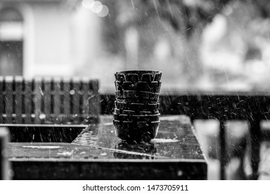 Ashtrays in the rain in black and white