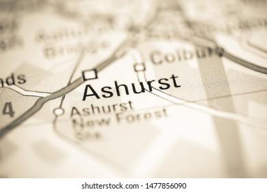 Ashurst. United Kingdom on a geography map