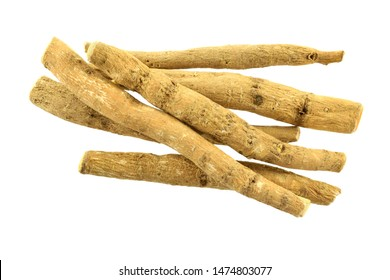 Ashwagandha Dry Root Medicinal Herb, also known as Withania Somnifera, Ashwagandha, Indian Ginseng, Poison Gooseberry, or Winter Cherry. Isolated on White Background.
