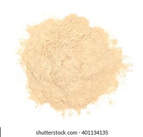 Ashwagandha powder isolated on white, top view