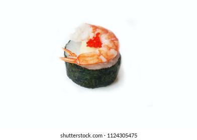 Asia - Asian eating food, Japanese food, sushi shrimp with seaweed  flying fish roe  isolated on white background, close up