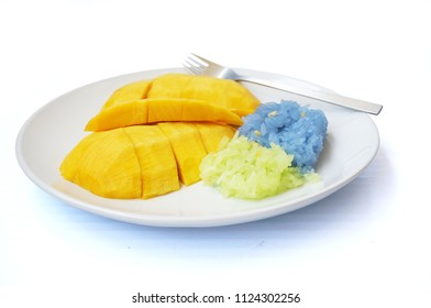 Asia - Asian eating food, Thai dessert, Sticky rice in coconut cream with sweet ripe mango on white plate isolated on white background, close up