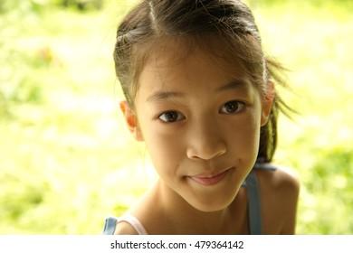 Asia beautiful long hair  girl portrait