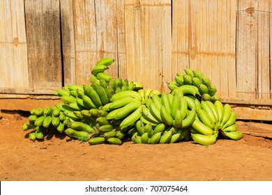 Asia, a bunch of green bananas near the wooden barn