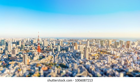Asia Business concept for real estate and corporate construction - panoramic modern city skyline bird eye aerial view under golden sun in Roppongi Hill, Tokyo, Japan. Miniature Tilt-shift effect
