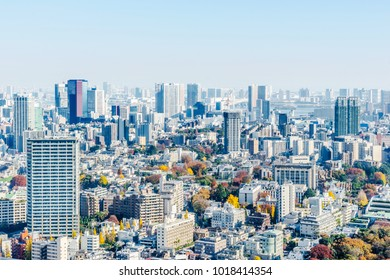 Asia Business concept for real estate and corporate construction - panoramic modern city skyline aerial view of Odaiba area under blue sky in Tokyo, Japan