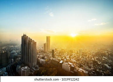 Asia Business concept for real estate and corporate construction - panoramic modern city skyline aerial view of Shinjuku area under sunset in Tokyo, Japan