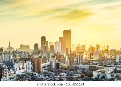 Asia Business concept for real estate and corporate construction - panoramic modern city skyline aerial view of shinjuku area under sunset sky in Tokyo, Japan