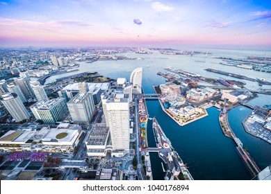 Asia Business concept for real estate and corporate construction - panoramic modern city skyline aerial view of Yokohama minato mirai 21 Area under sunset sky in Yokohama, Japan