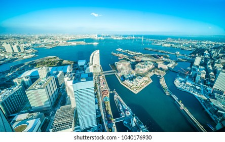 Asia Business concept for real estate and corporate construction - panoramic modern city skyline aerial view of Yokohama minato mirai 21 Area under blue sky in Yokohama, Japan