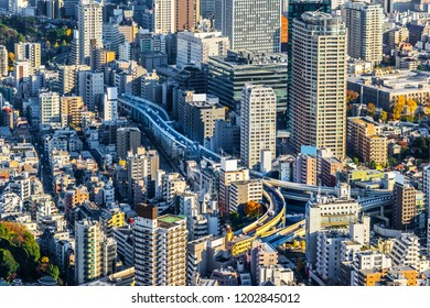 Asia Business concept for real estate and corporate construction - panoramic modern city skyline bird eye aerial view of Tokyo metropolitan expressway junction in Roppongi Hill, Tokyo, Japan