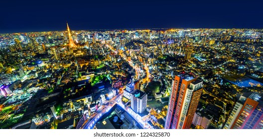 Asia Business concept for real estate & corporate construction - panoramic modern city skyline of tokyo tower and metropolitan expressway junction with neon night in Roppongi Hill, Tokyo, Japan