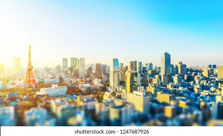 Asia business concept for real estate and corporate construction - panoramic city skyline aerial view with tokyo tower under blue sky & sun in Tokyo, Japan with tilt shift, miniature, blur effect