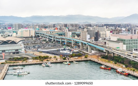 Asia Business concept for real estate and corporate construction - panoramic urban city skyline aerial view under bright blue sky and sun in hakata port, Fukuoka Japan