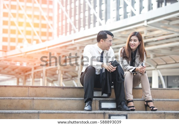 Asia business people or businessman and businesswoman outdoor, Protrait business concept.