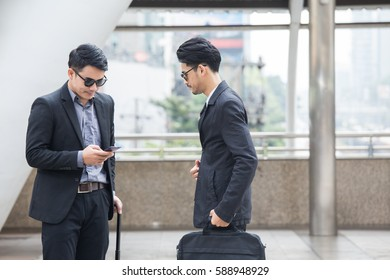 Asia business people or businessman working outdoor, Protrait business concept.