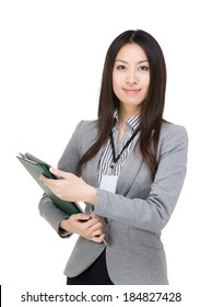 Asia businesswoman holding clipboard
