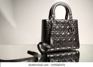 Asia, China, Shanghai - March 15, 2013: Dior's black leather bag in Shanghai's studio still life photography in Xie Yuliang