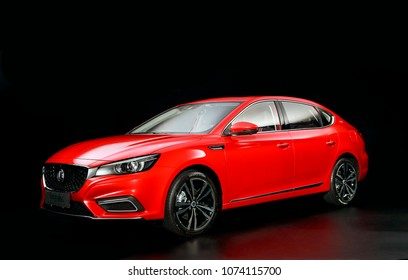 Asia China Shanghai - October 12, 2017 - An unlisted new car MG 6 quietly displayed in a black background