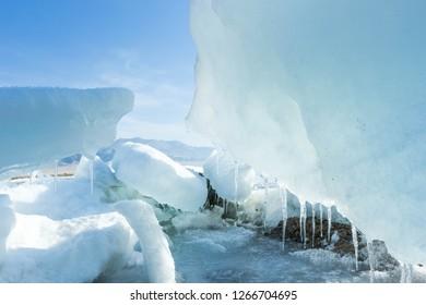 Asia, China, xinjiang, selimu lake, ice covered by large blocks of ice on the selimu lake, beautiful in the sun
