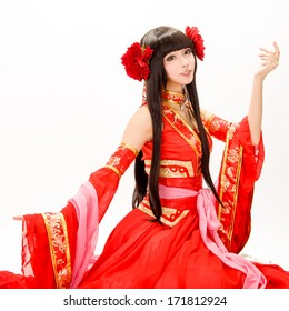 Asia / Chinese girl in red  traditional dress dancer