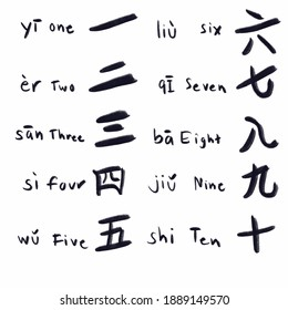 Asia Chinese letter calligraphy hieroglyphic set.scripts collection. writing brush. Chinese text tattoos, Numeral. One Two Three Four Five Six Seven Eight Nine Ten.
