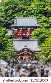 Asia culture concept - Tsurugaoka Hachimangu shrine under blue sky in Kamakura, Japan.