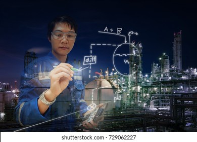Asia engineer holding hand writing this process flow diagram for training, Job of engineers, Control and monitoring petrochemical plants concept, Double exposure