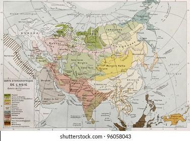 Asia ethnographic map. By Paul Vidal de Lablache, Atlas Classique, Librerie Colin, Paris, 1894 (first edition)