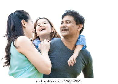 Asia family happiness parents in holiday vacation, family bonding cheerful children parenting love concept