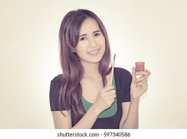 asia girl with painting set object on white background with vintage filter