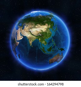 Asia globe. Elements of this image furnished by NASA