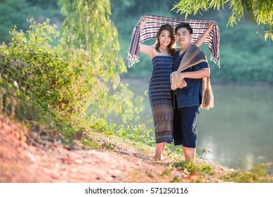 asia happy young couple in love outdoor in spring