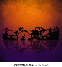 Asia Landscape Silhouettes. 3D rendering