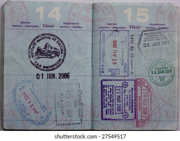 Asia, Latin America and Canada Stamps in a US Passport